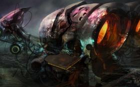 Картинка город, планеты, корабль, арт, гигантсикй