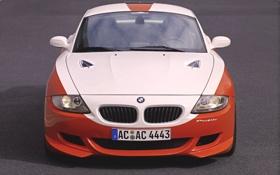 Обои Авто, Белый, BMW, Решетка, БМВ, Оранжевый, Капот