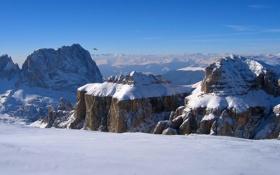Картинка снег, горы, птица, высота, горизонт