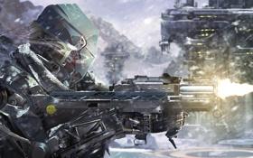 Картинка снег, оружие, пламя, выстрел, Солдат, броня