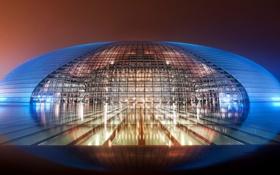 Картинка ночь, города, китай, вид, места, пекин, национальный центр