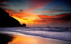 Обои закат, берег, волны, море