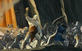 Картинка властелин колец, арт, гномы, сражение, lord of the rings, Хоббит, The Hobbit