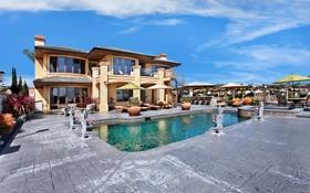Обои дизайн, дом, вилла, бассейн