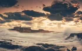 Картинка море, волны, шторм, берег, остров, башня, утро