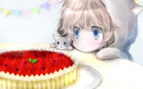 Картинка кошка, котенок, праздник, ребенок, арт, пирог, milkuro