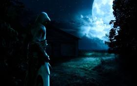 Обои Ночь, Assassins Creed, Тьма, Полнолуние, Альтаир