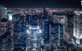 Картинка ночь, город, огни, дома, Нью-Йорк, США, Манхэттен