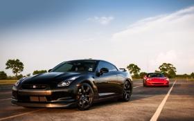 Картинка небо, красный, чёрный, Corvette, Chevrolet, Ниссан, Шевроле