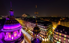 Обои ночь, город, Франция, Париж, здания, дома, подсветка