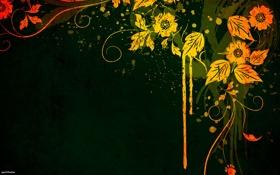 Обои цветы, желтый, зеленый