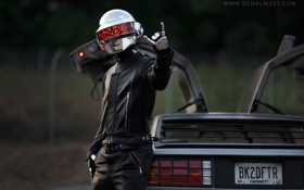 Обои rock, daft punk, guy, de lorean