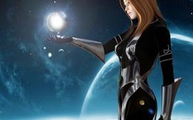 Обои девушка, планета, FutureVisions