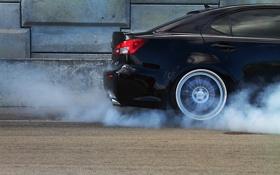 Обои дым, колесо, диск, lexus ls-f