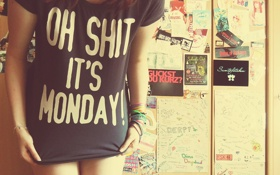 Картинка девушка, фото, утро, футболка, shit, это, понедельник