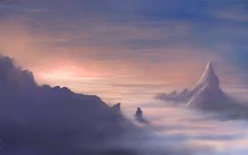 Картинка облака, высота, гора, арт, вершина, пик