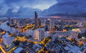 Обои мост, река, дома, Тайланд, Бангкок, огни., панограма