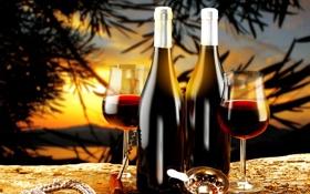 Обои закат, пейзаж, вино, бутылки, бокалы, штопор