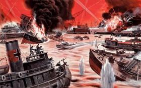 Обои огонь, дым, взрывы, корабли, порт, сражение, Mort Künstler