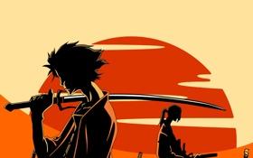 Обои солнце, оружие, меч, аниме, войны