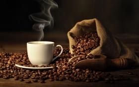 Обои кофе, чашка, мешок, кофейные зерна, coffee, spoon, Cup