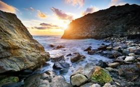 Картинка море, волны, небо, солнце, облака, природа, камни