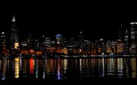 Обои ночь, город, огни, река, небоскребы, Чикаго, США