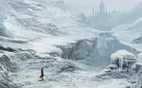 Картинка замок, меч, зима, арт, снег, путник, ущелье
