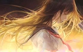 Картинка девушка, город, дома, аниме, арт, микрофон, форма