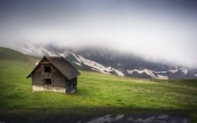 Картинка пейзаж, горы, туман, дом