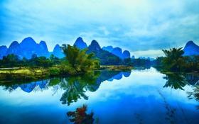 Обои Гуанси, река, Яншо, горы, отражение, Китай