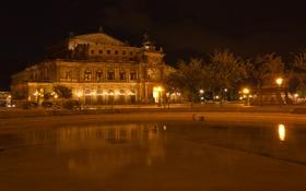 Картинка ночь, Германия, Дрезден, night, germany, dresden, Semperoper