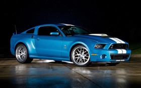 Обои синий, полосы, фон, Mustang, Ford, Shelby, GT500