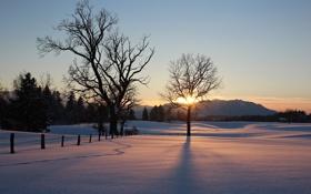 Картинка зима, поле, небо, пейзаж, закат, природа