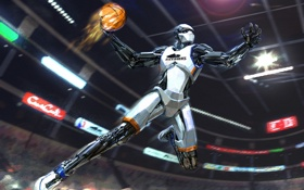 Обои прыжок, спорт, игра, мяч, робот, арт, баскетбол