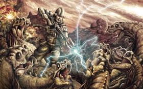 Обои молния, бой, Солдат, динозавры, броня, винтовка, в окружении