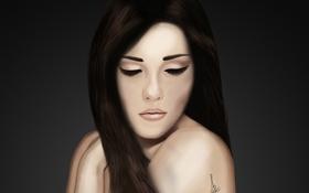 Обои девушка, лицо, ресницы, фон, волосы, руки, арт