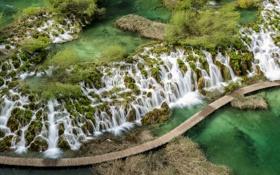 Обои каскад, Хорватия, природа, Плитвицкие озёра, водопаж