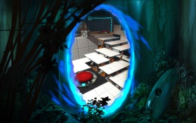 Обои portal, blue, sentry