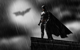 Обои дождь, герой, Бэтмен, темный рыцарь, комиксы, Кристиан Бейл