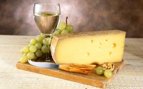 Картинка вино, белое, бокал, сыр, виноград, гроздь, нож
