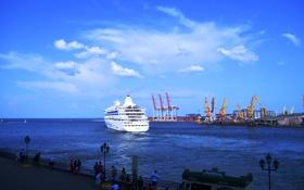 Картинка море, порт, теплоход, Одесса