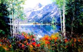 Картинка деревья, пейзаж, цветы, горы, озеро, весна, катрина