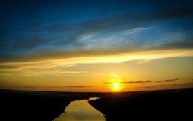 Обои закат, река, Ока, Калуга, Kaluga