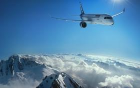 Картинка самолет, облако, полёт, BA CS300