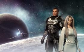 Обои девушка, космос, планеты, корабль, парень