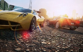 Обои ракурс, город, need for speed most wanted 2, солнце, pagani huayra, chevrolet corvette z06, суперкары