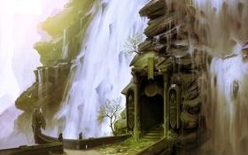 Картинка зелень, вода, цветы, водопад, арт, арка, проем