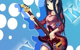 Картинка k-on!, yato, гитара, akiyama mio, музыка, девушка, кэйон!