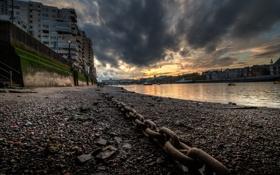 Обои закат, англия, лондон, london, sunset, clouds, england